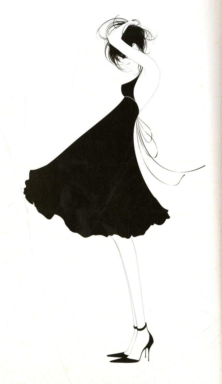 Fashion illustration - chic black & white fashion drawing