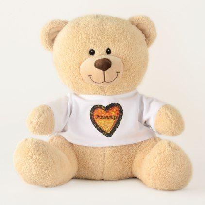 Personalize Elegant Orange Heart Valentineu0027s Day Teddy Bear