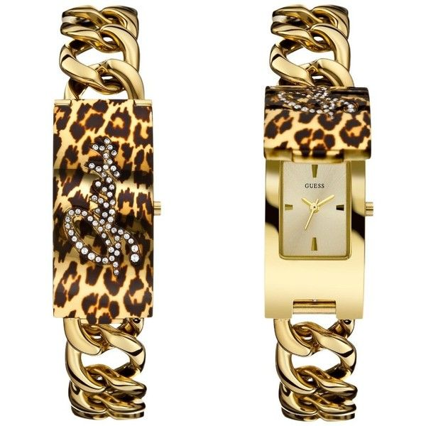 GUESS Women's U0321L5 Gold-Tone ID Bracelet Watch with Animal Print Cover & Self-Adjustable Bracelet $145