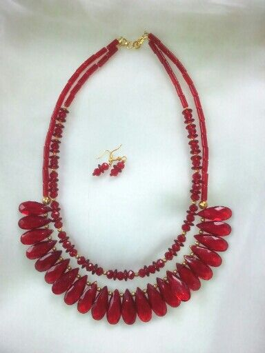 Red beads necklace created by Leesa Shah