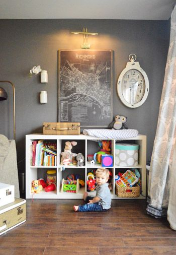 "Love the approach in this house - deep wall color, ""collected"" feel but not crazy, kid stuff still accessible. Feels grown up but not fussy.  (Follow link for the rest of the house)"