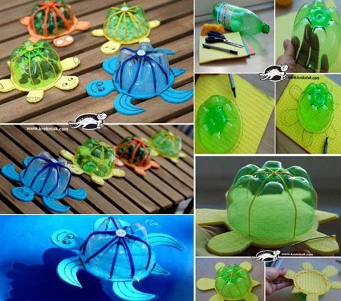 Schildkröten gebastelt - Plastik-Flaschenboden und Spüllappen