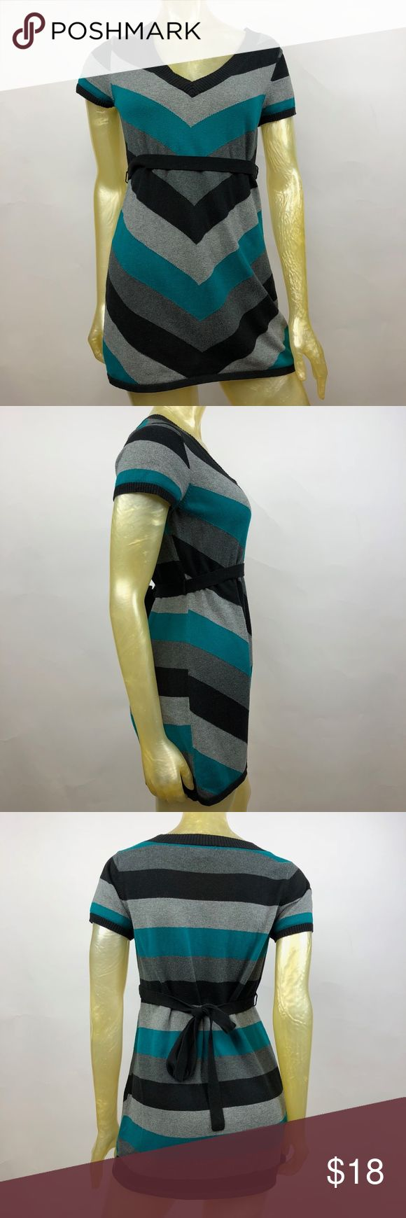 """Two Hearts Striped Knit Maternity Short Sleeve Top Posh Thrift Shop  Thanks for stopping by!!!  Item: Two Hearts Maternity Size Small S Striped Short Sleeve Knit Top Waist Tie  Condition: In good used condition.  Please refer to images for more details about this item. If you have any questions please feel free to ask. All measurements are taken with the item laying and are approximate.   Armpit to Armpit: 19""""  Shoulder to Hem: 30"""" Two Hearts Maternity Tops"""