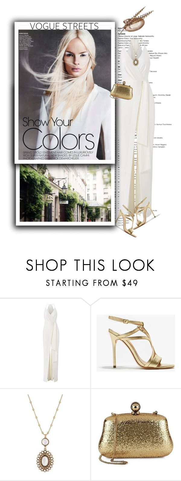 """""""Vogue Streets"""" by terrelynthomas ❤ liked on Polyvore featuring Halston, Halston Heritage, Lucky Brand, jumpsuit, offwhite, goldaccessories and halston"""