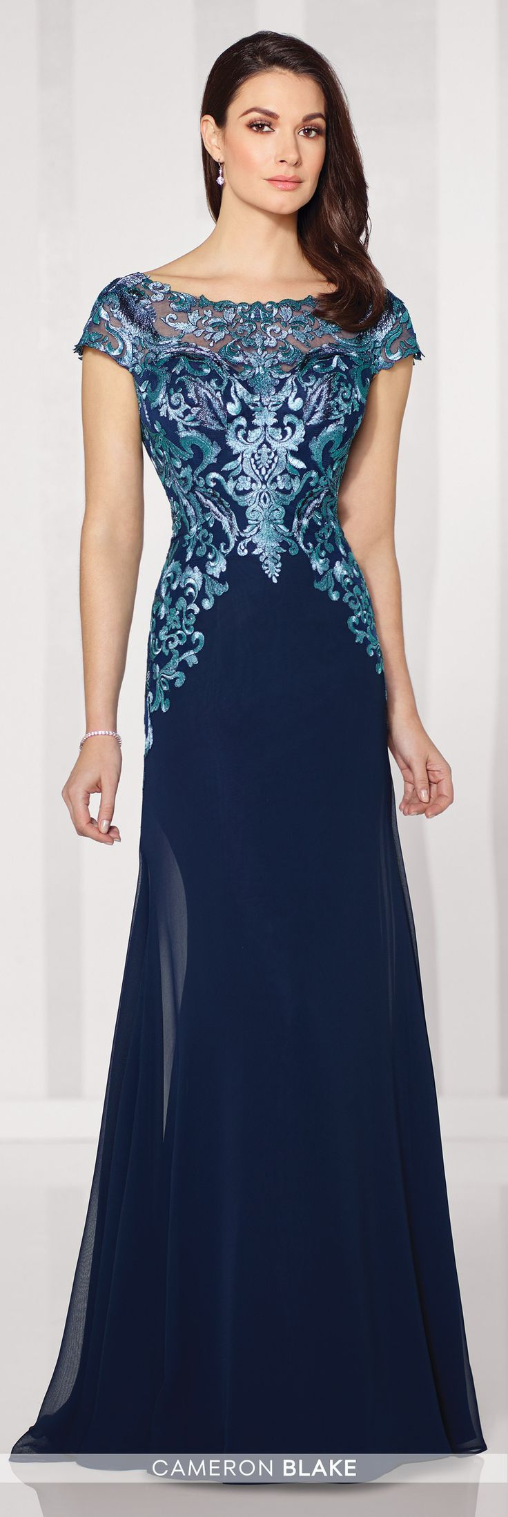 Formal Evening Gowns by Mon Cheri - Fall 2016 - Style No. 216691 - blue evening dress with lace illusion cap sleeves and neckline and V-back