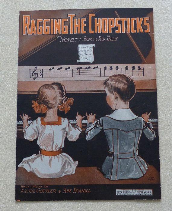 Ragging the Chopsticks  vintage sheet music by landsTreasures