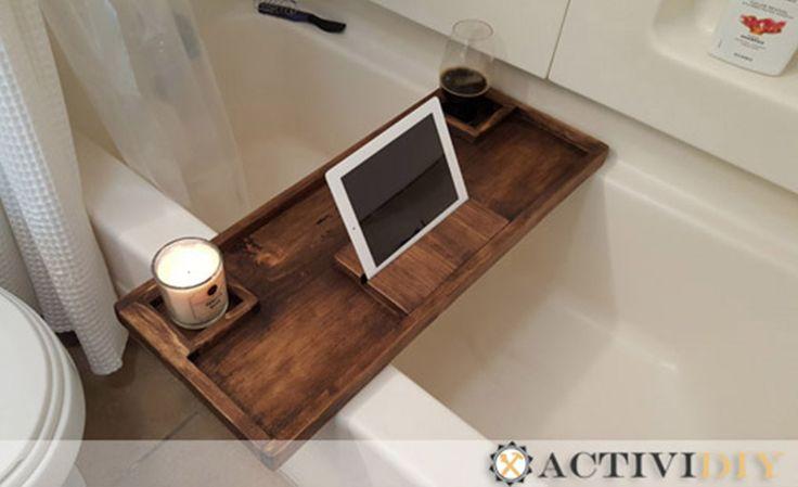 9 Steps To Build A Diy Wooden Rustic Bathtub Caddy Tray