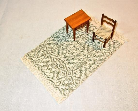 Green and White Handwoven Miniature Dollhouse Rug, tea time mat in an overshot pattern. Cotton weft