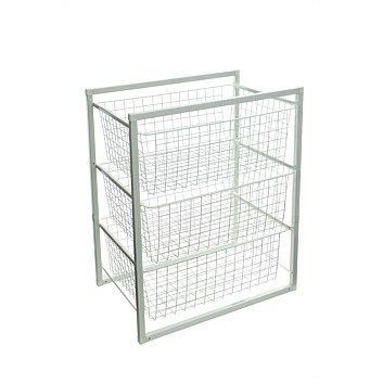 Briscoes - White 3 Tier Powder Coated Wire Basket Set