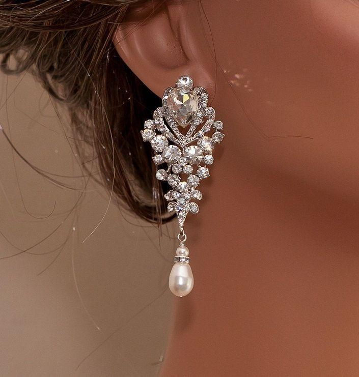 Wedding+Earrings+Bridal+Rhinestone+Earrings+by+OliniBridalJewelry,+$70.00
