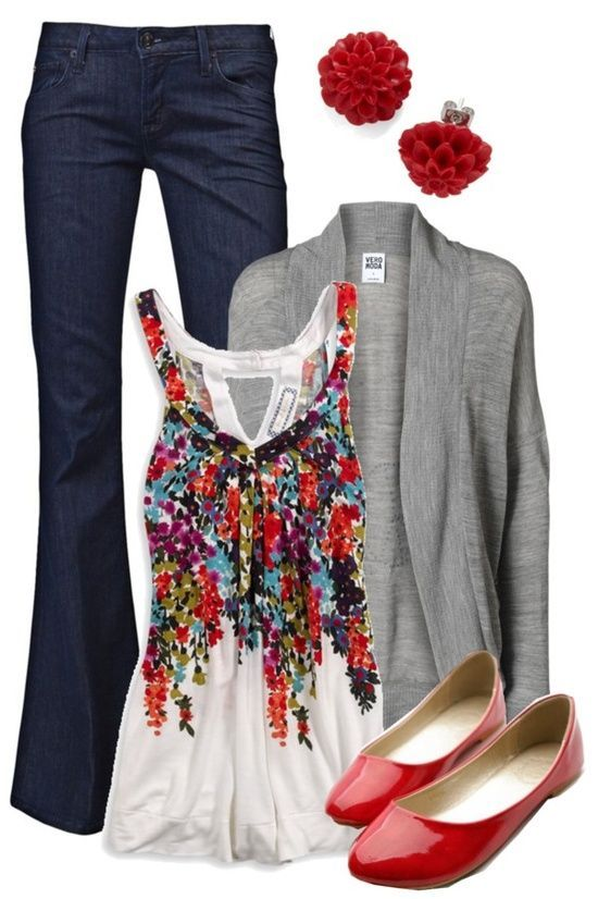 LOVE the floral tank. Not a fan of the bell bottoms but the top could go with a lot! Have a similar sweater and shoes.