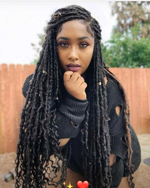 Faux Locks Hairstyles For Black Women Faux Locs Black Women Hairstyles African American Hairstyles Goddess Faux Faux Locs Hairstyles Faux Hair Hair Styles