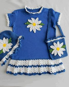 Daisy T-Shirt Dress With Hat and Purse Crochet Pattern