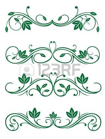 Vintage floral decorations isolated on white for design photo