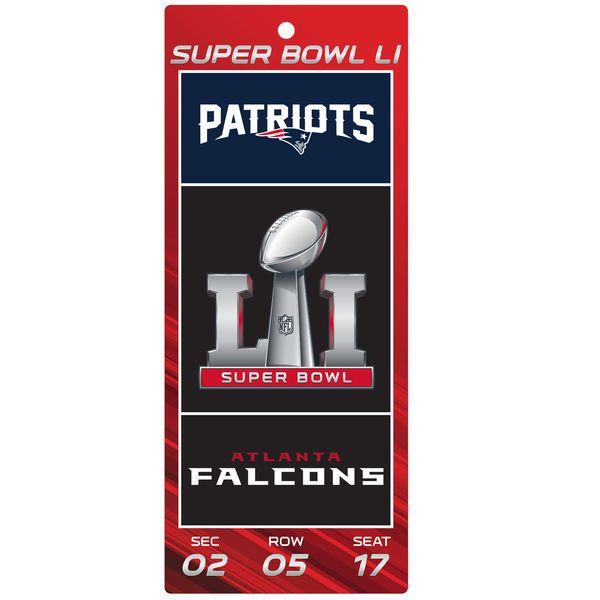 """New England Patriots vs. Atlanta Falcons WinCraft Super Bowl LI Dueling 5"""" x 13"""" Ticket Sign, $6.99"""