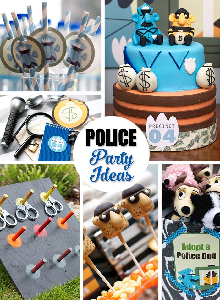 Police Birthday Party Ideas, Cake Pops, Party Favor Ideas, Games, Activities, and Puppy Adoption Station! Perfect for a boy that loves playing cops and robbers.