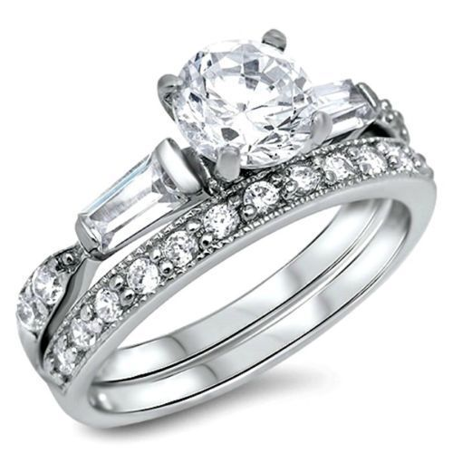 Sterling Silver Wedding set size 5 CZ Round cut Engagement Ring Bridal New w30 #Unbranded