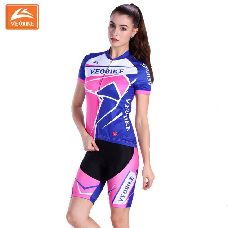 Veobike Women Cycling Jersey Set Short-sleeve Breathable Padded Shorts Bike Clothing Outdoor MTB Cycling Sport Wear Uniforms