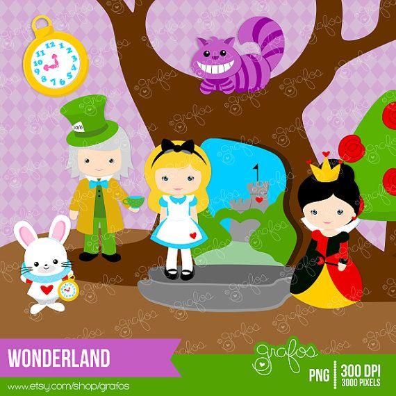 WONDERLAND  Digital Clipart , Alice in Wonderland ClipArt  / Instant Download on Etsy, $2.50