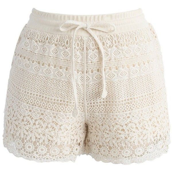 Chicwish Boho Weekend Crochet Shorts in Beige ($32) ❤ liked on Polyvore featuring shorts, short, beige, bohemian shorts, beige shorts, macrame shorts, relaxed shorts and boho shorts