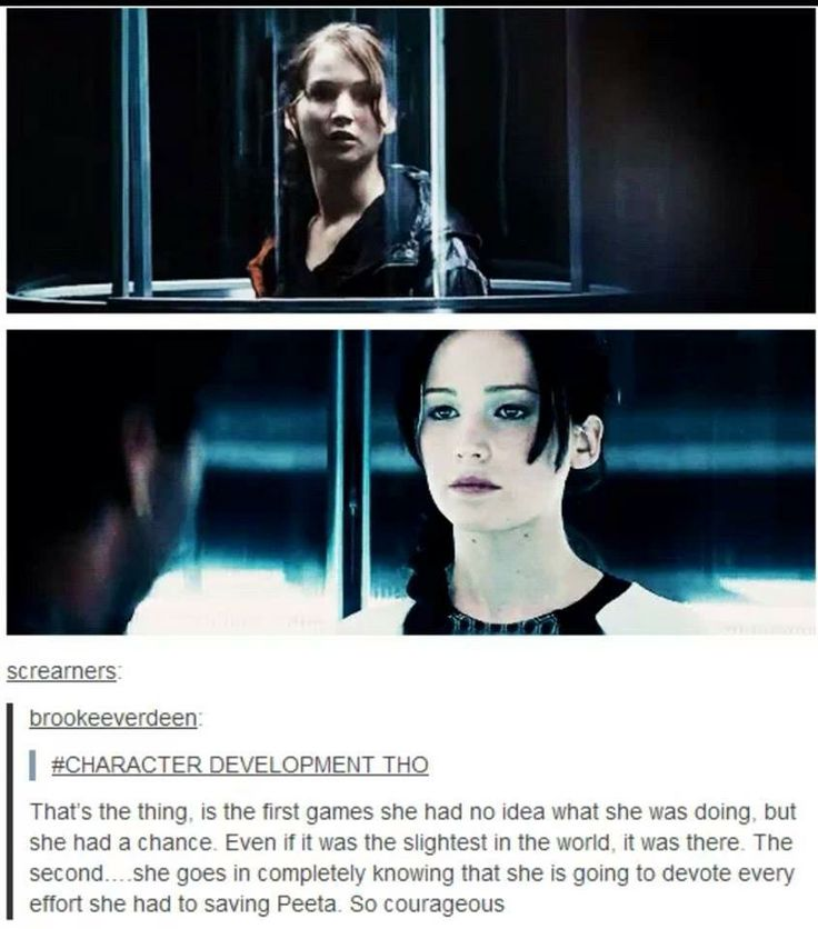 Katniss character development. She also wasn't shaking the second time around. Guess that make up they put on her is war paint.