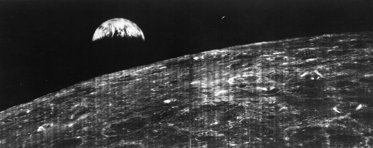 The world's first view of Earth taken by a spacecraft from the vicinity of the Moon. The photo was transmitted to Earth by the United States Lunar Orbiter I and received at the NASA tracking station at Robledo De Chavela near Madrid, Spain. This crescent of the Earth was photographed August 23, 1966 at 16:35 GMT when the spacecraft was on its 16th orbit and just about to pass behind the Moon. Credit: NASA