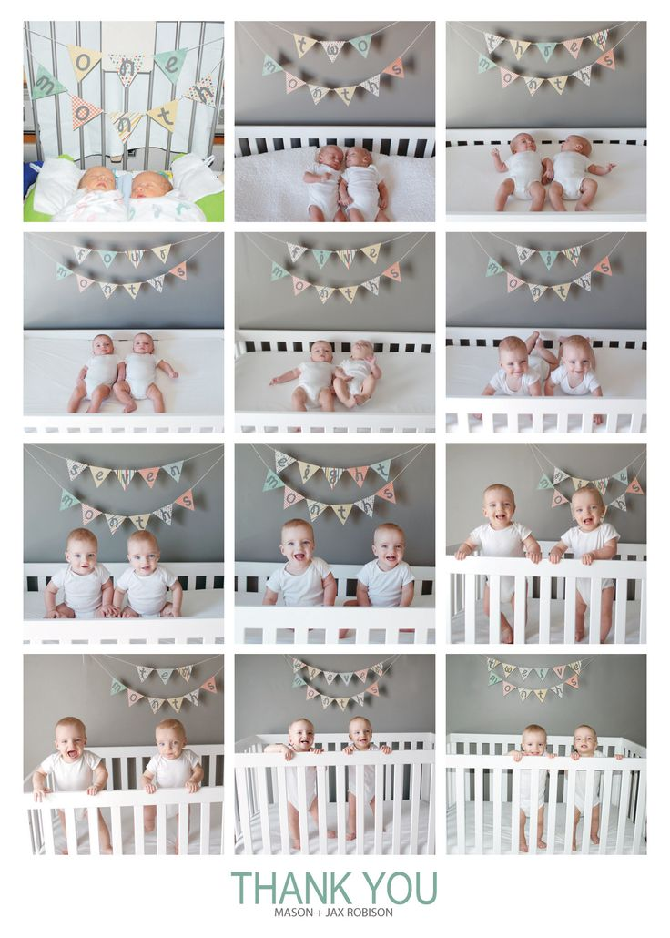 A year in photos. Displayed at first birthday to show how they've grown. Also used as a Thank You card.