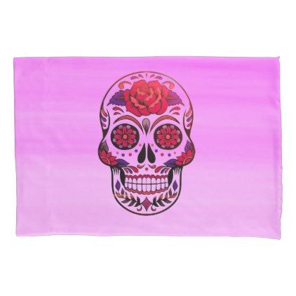 Cool Mexican style sugar skull in pink and purple Pillow Case - girly gift gifts ideas cyo diy special unique