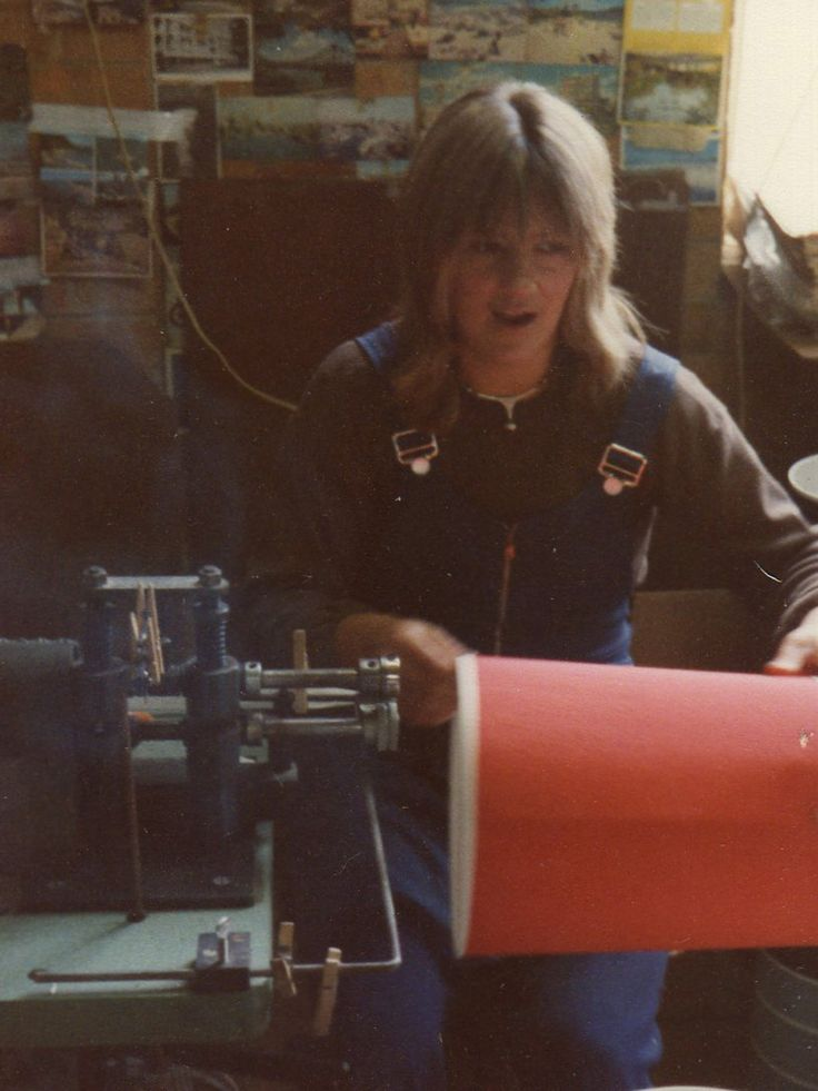 1970 || Mayfield worker Carol hand making lamp shades.