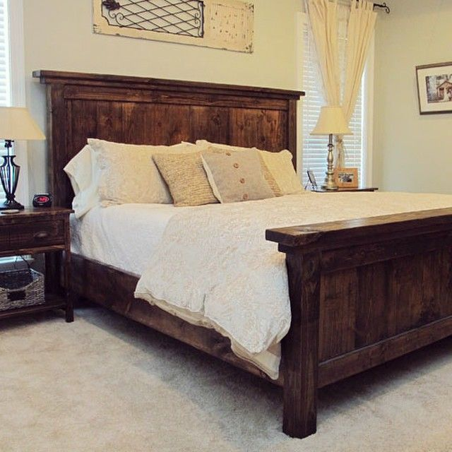 Our favorite DIY project to date – our handmade king bed and bedside tables! @Shanty-2-Chic.com