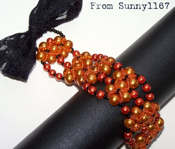 ARTBEADS Attractive Orange Brown Black glass pearl by Sunny1167, €24.99
