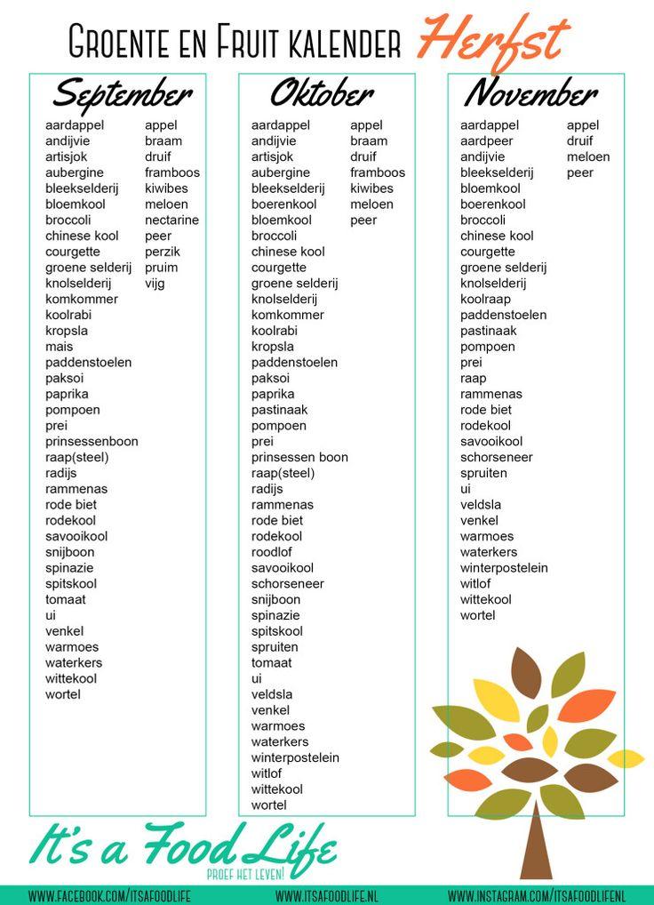 Downloads: groente en fruit kalender herfst | It's a Food Life