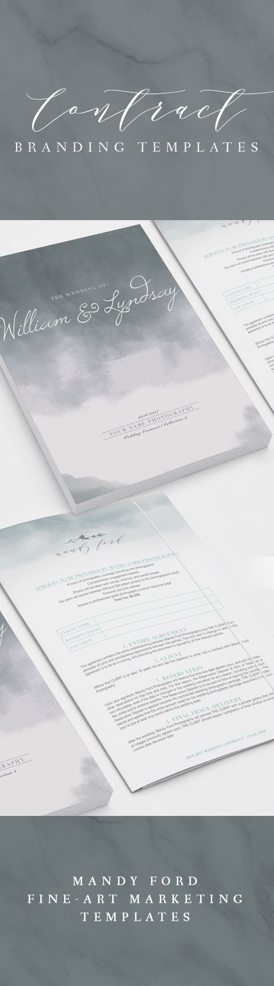 Wedding Photography Contract - Storm - Custom Branded Template | Business Card Template | Marketing Resources | High End Marketing Templates
