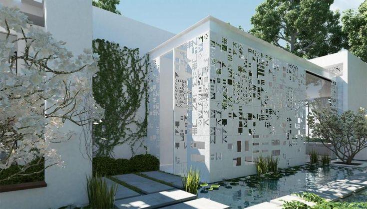 White modern zen garden pool modern and futuristic design for Zen pool design