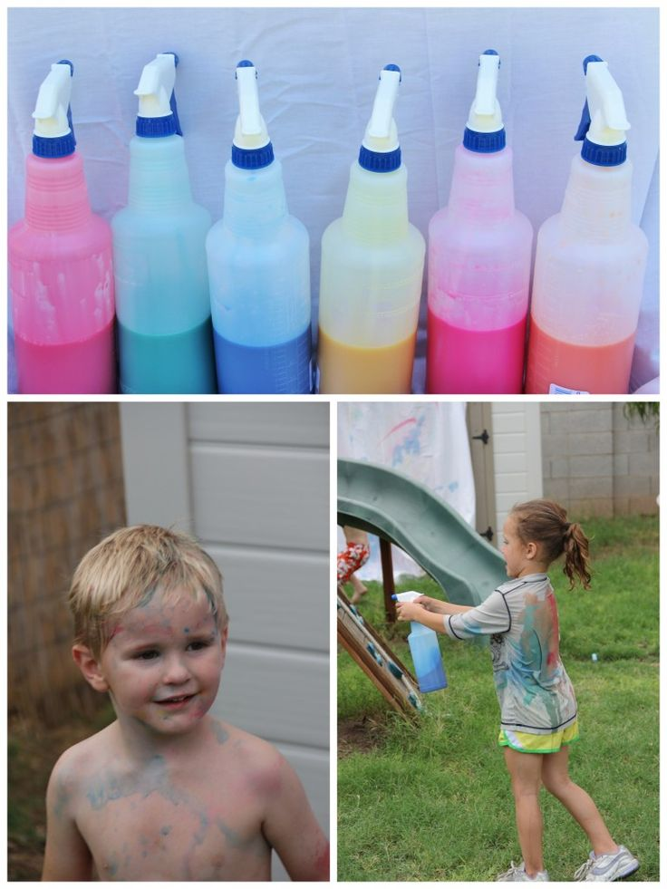 washable paint diluted with H2O in spray bottles for art station at messy party.  ok if kids get a bit on their skin.
