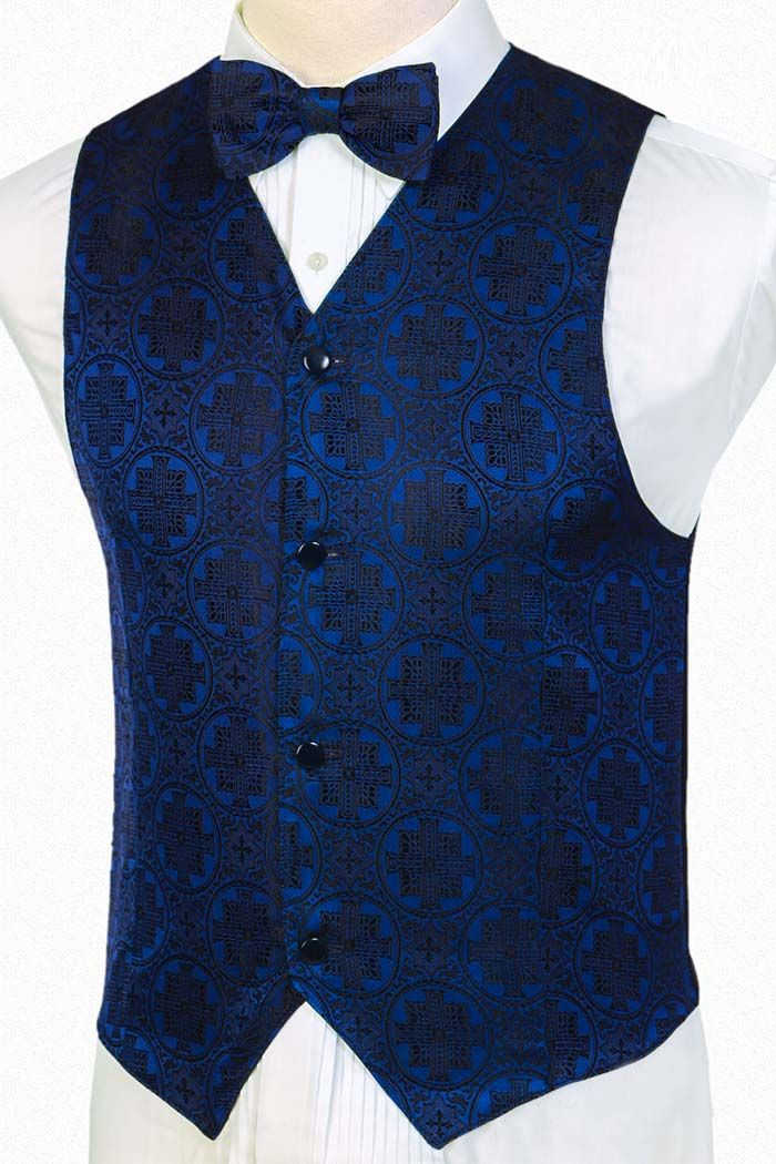 5913fa364dab Men\'s Blue Black Vestment Silk Brocade Vest | Christmas Vests for Men in  2019 | Silk brocade, Vest, Silk