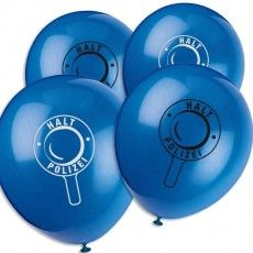 Polizei Partyballons im 8er Pack, beidseitiger Motivdruck, Latex, 35cm