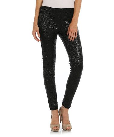 Look what I found on #zulily! Black Sequin Skinny Pants #zulilyfinds
