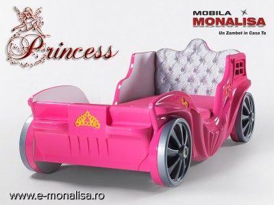 Pat Trasura Printesa   Paturi in Forma Caleasca Disney Princess