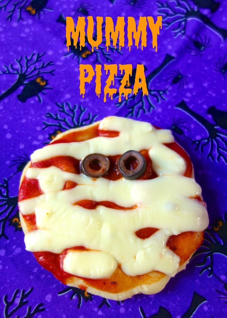 Mummy Pizza - quick snack before or after trick-or-treating. Come learn how to thaw frozen bread dough in a flash!