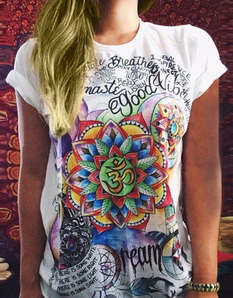 Vintage Multicolored Printed Short Sleeve Pullover T-Shirt For Women