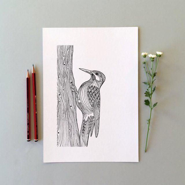 Esta es una impresión digital de gran calidad de mi ilustración original dibujada a mano con estilógrafo. Impreso sobre papel texturizado de 200 g tamaño A5 ...