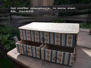 oud brocant stoffen doosje ladenkastje
