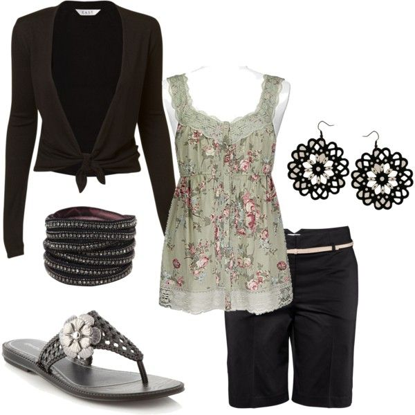 cute outfit: Capri Pants, Tammietoo2 Polyvore Com, Shirts, Lunches, Cute Outfits, Leather Cuffs, Sandals, Earrings, Cute Work Outfits