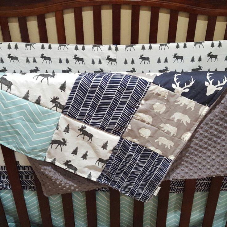 Such a cute woodland theme bedding for baby boy!