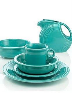 Turquoise- love all the colors we have collected so far- so bright and cheery in the cabinets