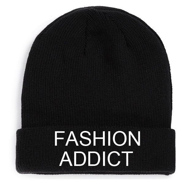 Fashion Addict Beanie Black Hat Embroidery fashion retro love style... ($19) ❤ liked on Polyvore featuring accessories, hats, beanies, gorros, hipster hat, beanie hats, black beanie hat, embroidered beanie hats and black hat