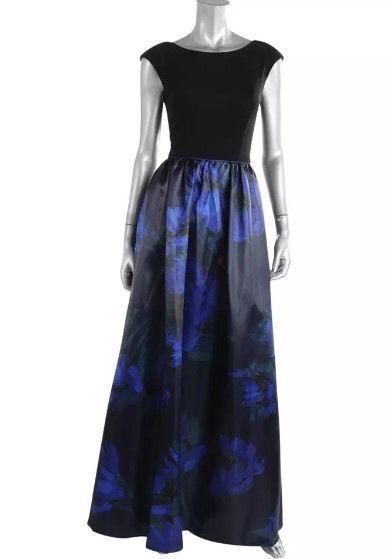 AIDAN MATTOX Black and Ball Ball Gown Size 2 $440 NWT