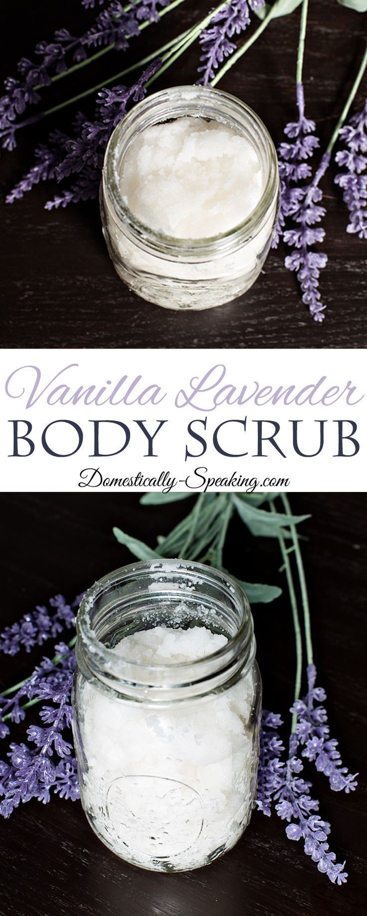 Vanilla Lavender Body Scrub a Homemade Body Scrub Recipe - great to get rid of your dry skin - a wonderful scent that is perfect to calm you before bedtime.