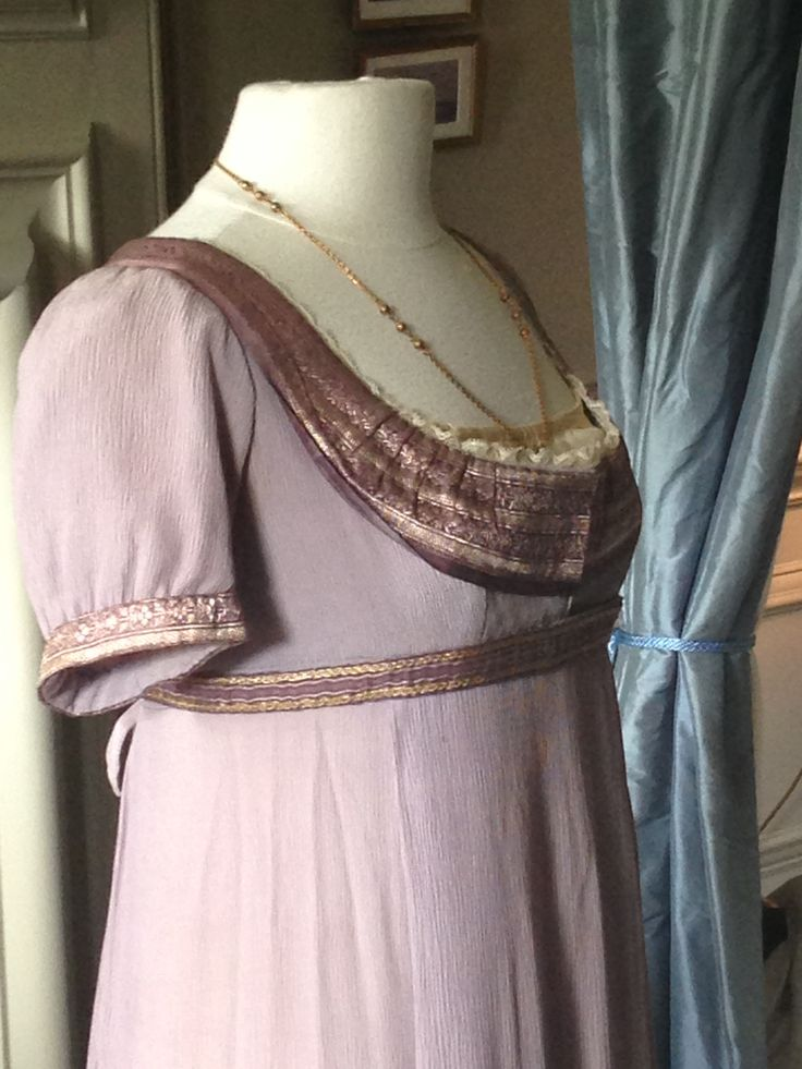 National Trust Property - Mompesson House.  Emma Thompson's dress from Sense and Sensibility - Close Up.